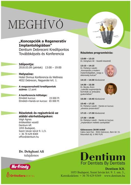 Koncepciók a Regeneratív Implantológiában – Meghívó